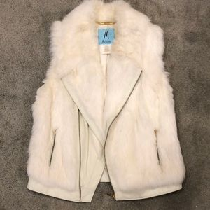 Marciano Genuine Rabbit Fur and Leather Vest